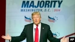 被推测为共和党总统候选人的唐纳德·川普在华盛顿市发表竞选演说(2016年6月10日)