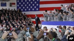 President Barack Obama is introduced at a Veteran's Day event at U.S. Army Garrison Yongsan in Seoul, South Korea, 11 Nov 2010