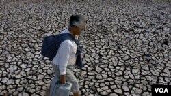 Seorang wanita membawa air dari danau kering di Gunung Kidul, Yogya (4/9).