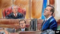 Ký họa ghi lại hình ảnh nhân chứng Rick Gates tại phiên xét xử ông Paul Manafort