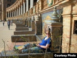Frances Downey sits at the Plaza de España in Seville, Spain during her time studying there in 2007.