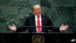 Prezidan Trump devan tribin l'ONU an madi 25 septanm 2018 la.