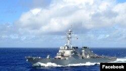 美国海军科蒂斯·威尔伯号驱逐舰(科蒂斯·威尔伯号驱逐舰脸书账户图片)