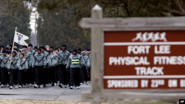 FILE - The physical fitness track at the Ft. Lee Army base in Ft. Lee, Virginia. An 'active shooter' alert was issued and then rescinded on Monday at the base.