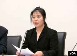 流亡美国的法轮功学员马春梅2016年5月26日在美国国会听证会作证 (马春梅提供)