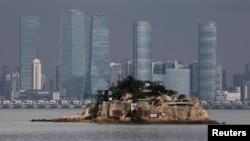 台灣的金門獅嶼與中國大陸的廈門只有幾公里之遙(路透社資料照)