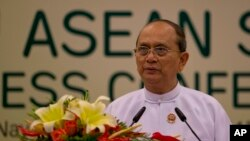 FILE - Myanmar President Thein Sein delivers statement concluding the Association of Southeast Asian Nations leaders Summit in Naypyitaw, Myanmar.