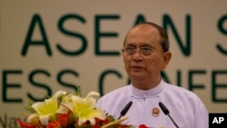 FILE - Myanmar President Thein Sein delivers a statement concluding the Association of Southeast Asian Nations leaders Summit in Naypyitaw, Myanmar.