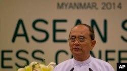 缅甸总统吴登盛在东盟会议上讲话(资料照片)