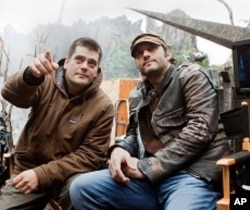 "Director Nimrod Antal and Producer Robert Rodriguez on the set of ""Predators"""