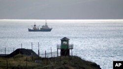 Russian has built a tower and placed border guards on Kunashir Island, one of the disputed Kuril Islands that are claimed by both Japan and Russia, in this November 2005 photo.