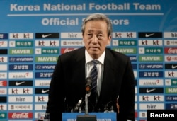 Former FIFA Vice President Chung Mong-joon arrives to hold a press conference in Seoul, South Korea, June 3, 2015.