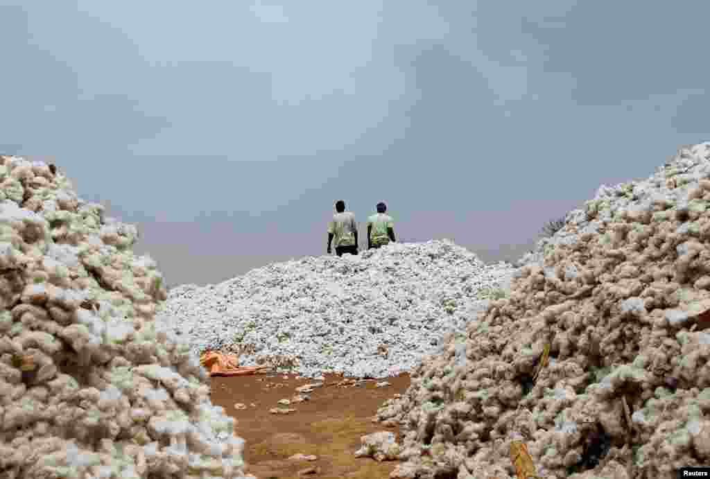 Farmers work at a cotton market in Soungalodaga village near Bobo-Dioulasso, Burkina Faso.