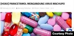 Berita hoaks terkait obat yang diambil dari situs turnbackhoax (Foto: Screenshot/turnbackhoax)