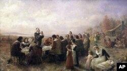 油画《普利茅斯第一次感恩节》(Jennie A. Brownscombe, 1914) 显示衣着整齐的清教徒和印地安人一起感恩祷告。历史学家说,画面并未准确反映历史。