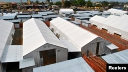 An aerial view shows a new Ebola treatment center that opened in Liberia's capital Monrovia, Oct. 31, 2014.