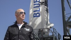 Jeff Bezos, founder of Blue Origin, inspects New Shepard's West Texas launch facility.