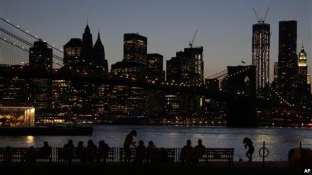 Cảnh Manhattan sau hoàng hôn nhìn từ quận Brooklyn của New York