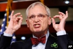 FILE - Rep. Earl Blumenauer, D-Ore., speaks during a news conference, Feb. 8, 2018, on Capitol Hill in Washington.