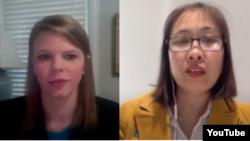 Bà Ashlee Davis (trái), Giám đốc Truyền thông của Hội Nạn nhân Chế độ Cộng sản và Blogger Nguyễn Ngọc Như Quỳnh, trong chương trình Những tiếng nói Tự do hôm 10/06/2020. Photo VOC via YouTube.