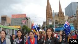 流亡藏人在1月26日的墨尔本国庆游行队伍中