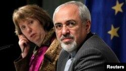 Верховный представитель ЕС по международным делам и политике безопасности Кэтрин Эштон и глава МИД Ирана Мохаммед Джавад Зариф