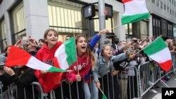 Desfile do Dia de Colombo em Nova Iorque a 8 de Outubro 2018. (AP Photo/Tina Fineberg