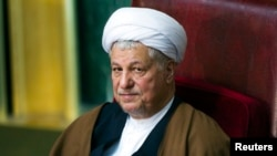 FILE - Former Iranian president Akbar Hashemi Rafsanjani attends the biannual Assembly of Experts' meeting in Tehran.
