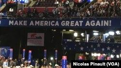 """""""Make America great again"""" dan """"Make America Work Again'' adalah slogan yang diusung pada Konvensi Nasional Partai Republik di Cleveland, Ohio."""