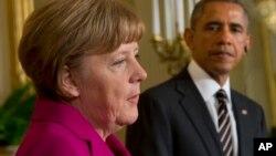 အေမရိကန္သမၼတ အိုဘားမားနဲ႔ ဂ်ာမနီဝန္ႀကီးခ်ဳပ္ Angela Merkel တို႔ အိမ္ျဖဴေတာ္က ပူးတဲြသတင္းစာရွင္းလင္းပဲြ။ (ေဖေဖၚဝါရီ ၉၊ ၂၀၁၅)