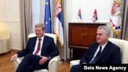 Predsednik Srbije Tomislav Nikolić i evropski komesar za prosirenje Štefan File