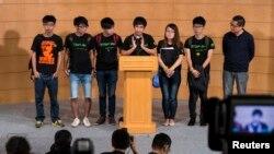 Para pemimpin mahasiswa Hong Kong memberikan keterangan pers, Selasa (21/10).