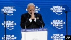 """El primer ministro de India, Narendra Modi, advirtió en su discurso que las barreras al libre comercio es """"preocupante""""."""