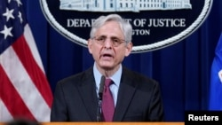Attorney General Merrick Garland speaks about a jury's verdict in the case against former Minneapolis Police Officer Derek Chauvin in the death of George Floyd, at the Department of Justice, in Washington, D.C., April 21, 2021.