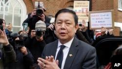 Myanmar's ambassador to the UK, Kyaw Zwar Minn speaks to the media outside the Myanmar Embassy in London, April 8, 2021.