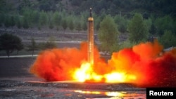 The long-range strategic ballistic rocket Hwasong-12 (Mars-12) is launched during a test in this undated photo released by North Korea's Korean Central News Agency (KCNA), May 15, 2017.