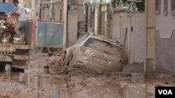بخشی از بقایای سیل پلدختر ایران