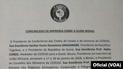 Comunicado de imprensa sobre a Guiné-Bissau