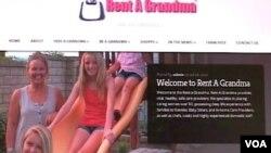 Situs online perusahaan 'Rent-A-Grandma.'