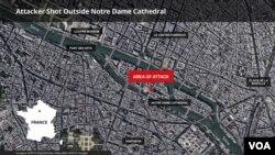 Карта Парижу: місце атаки біля Собору Паризької Богоматері (Нотр-Дам) 6 червня, 2017 року
