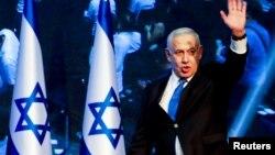 BenjaminNetanyahu au QG du Likoud,Tel Aviv, Israël, le 18 septembre 2019.