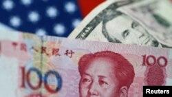 Đồng Đô la Mỹ và đồng Nguyên Trung quốc, ảnh minh họa ngày 2/6/2017.