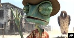Left to right: Rango (Johnny Depp) and the Hawk in RANGO, from Paramount Pictures and Nickelodeon Movies.