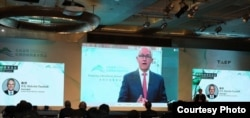 """澳大利亚前总理特恩布尔(Malcolm Turnbull)10月08日以视讯方式参与在台北举行的""""2020年玉山论坛: 亚洲创新与进步对话""""。(图片来源:财团法人台湾亚洲交流基金会)"""