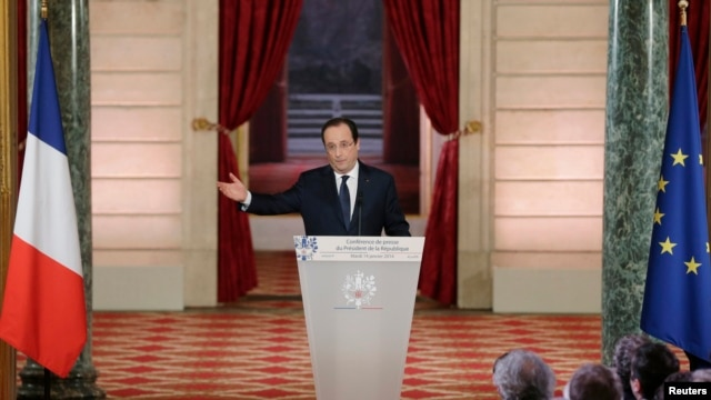 French President Francois Hollande addresses a news conference at the Elysee Palace in Paris, Jan. 14, 2014.
