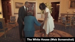 Virginia McLaurin dances with President Barack Obama and Michelle Obama during a visit to the White House. She is 106 years old.