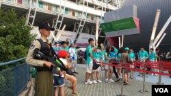当局明显加强台北世大运闭幕式安全措施(美国之音黎堡摄)