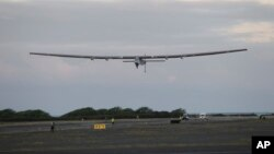 The Solar Impulse 2 solar plane lifts off at the Kalaeloa Airport, in Kapolei, Hawaii, April 21, 2016. The solar plane on an around-the-world journey has reached the point of no return over the Pacific Ocean after departing Hawaii, heading to California.