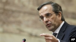 Conservative Greek opposition leader Antonis Samaras addresses conservative members of parliament in Athens, Wednesday, Nov. 2, 2011.