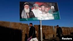 2月9日,喀布尔街头的总统竞选广告牌